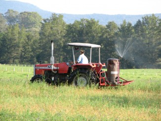 Simon spraying BD500 on pasture